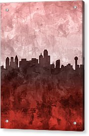 Dallas Skyline Grunge Red Acrylic Print