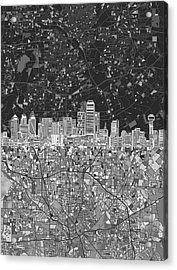 Dallas Skyline Map Black And White 3 Acrylic Print