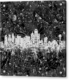 Dallas Skyline Map Black And White 5 Acrylic Print