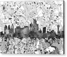 Dallas Skyline Map Black And White Acrylic Print