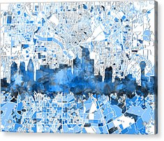 Dallas Skyline Map Blue 2 Acrylic Print