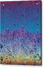 Dallas Skyline Map Blue 4 Acrylic Print