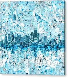 Dallas Skyline Map Blue 6 Acrylic Print