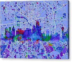 Dallas Skyline Map Blue Acrylic Print