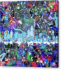 Dallas Skyline Map Color 4 Acrylic Print