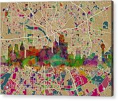 Dallas Skyline Map Color Acrylic Print