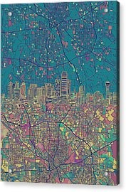 Dallas Skyline Map Green Acrylic Print