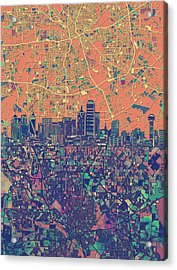 Dallas Skyline Map Orange Acrylic Print