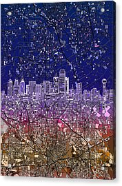 Dallas Skyline Map Purple 2 Acrylic Print