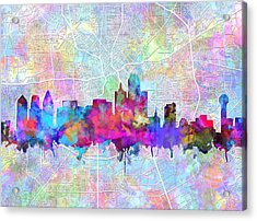 Dallas Skyline Map Purple Acrylic Print