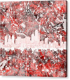 Dallas Skyline Map Red 2 Acrylic Print
