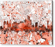 Dallas Skyline Map Red Acrylic Print