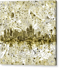 Dallas Skyline Map Sepia 2 Acrylic Print
