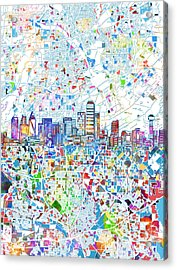 Dallas Skyline Map White 2 Acrylic Print