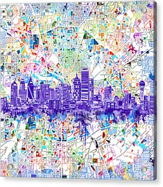 Dallas Skyline Map White 3 Acrylic Print