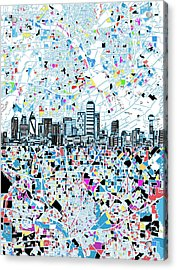 Dallas Skyline Map White Acrylic Print