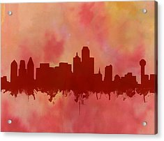 Dallas Skyline Red 2 Acrylic Print