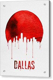 Dallas Skyline Red Acrylic Print by Naxart Studio