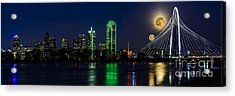 Dallas Skyline With The Strawberry Moon In Panorama Acrylic Print by Tamyra Ayles