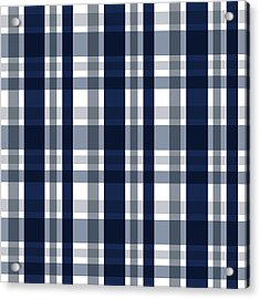 Dallas Sports Fan Navy Blue Silver Plaid Striped Acrylic Print