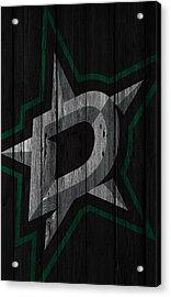 Dallas Stars Wood Fence Acrylic Print