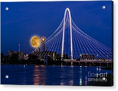 Dallas Strawberry Moon At Twilght Acrylic Print by Tamyra Ayles