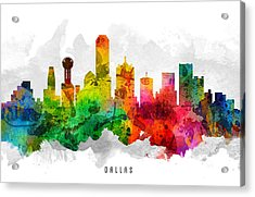 Dallas Texas Cityscape 12 Acrylic Print by Aged Pixel