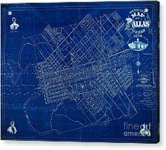 Dallas Texas Official 1875 City Map Blueprint Butterfield And Rundlett Acrylic Print