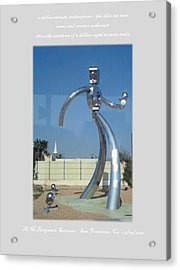 Dallas Tx Statute Thin Tin Man Thru A Window Acrylic Print by Anthony Benjamin