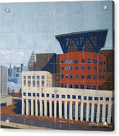 Acrylic Print featuring the painting Dam Public Library by Erin Fickert-Rowland