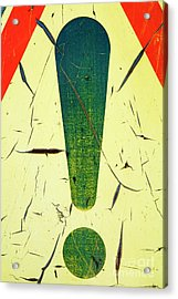 Damaged Surface Of A Road Warning Sign In France Acrylic Print by Sami Sarkis