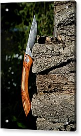 Damascene Steel Folding Knife Acrylic Print