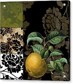 Damask Lerain Pear Acrylic Print by Mindy Sommers
