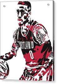 Damian Lillard Portland Trail Blazers Pixel Art 10 Acrylic Print