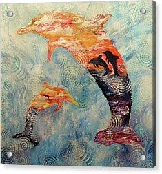 Dance At Dawn Dolphin Acrylic Print