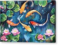 Dance Of The Koi Acrylic Print by Jennifer Beaudet