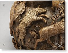 Dance Of The Seasons - Bronze Wildlife Bowl Detail - Wolf And Jumping Mice Acrylic Print