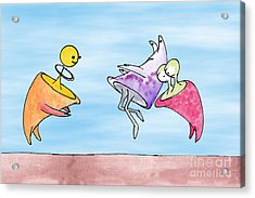 Dance Party Monsters Watercolor Acrylic Print