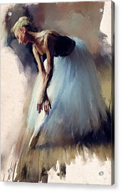 Dancer In Blue Acrylic Print by H James Hoff