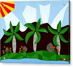 Dancin Palms Acrylic Print by Lourdes  SIMON