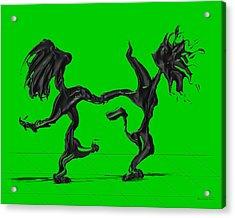 Dancing Couple 8 - Green Acrylic Print by Manuel Sueess