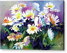 Acrylic Print featuring the painting Dancing Daisies by Kathy Braud