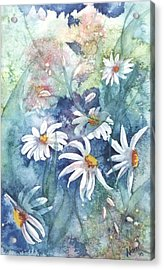 Acrylic Print featuring the painting Dancing Daisies by Renate Nadi Wesley