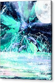 Dancing Dolphins Under The Moon Acrylic Print