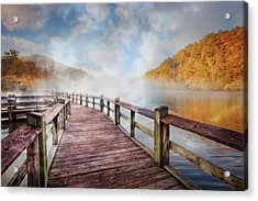 Acrylic Print featuring the photograph Dancing Fog At The Lake by Debra and Dave Vanderlaan