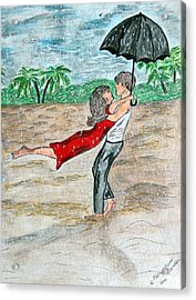 Dancing In The Rain On The Beach Acrylic Print