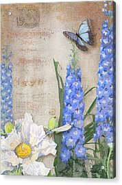 Dancing In The Wind - Damselfly N Morpho Butterfly W Delphinium Acrylic Print