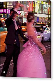 Dancing In Times Square Acrylic Print by Vijay Sharon Govender