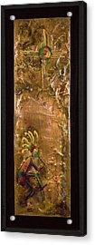 Dancing Kokopelli Under Zia. Acrylic Print