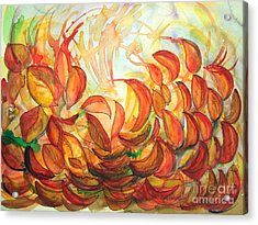 Dancing Leaves Acrylic Print by Vanda Sucheston Hughes